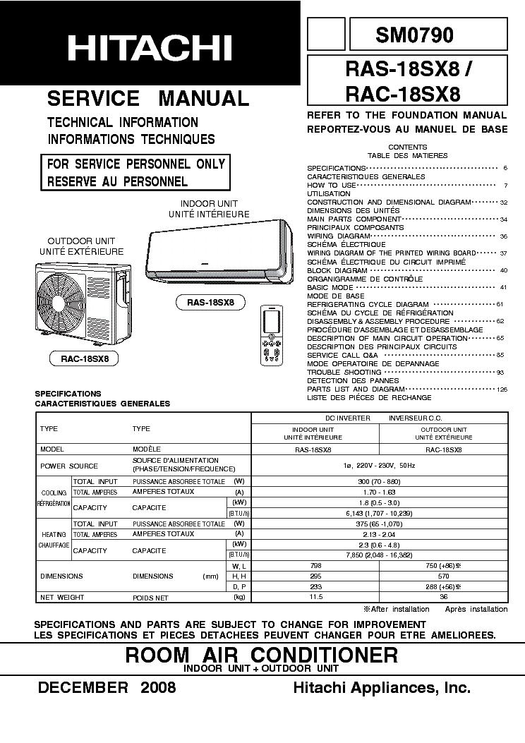 HITACHI RAC-18SX8 RAS-18SX8 Service Manual download