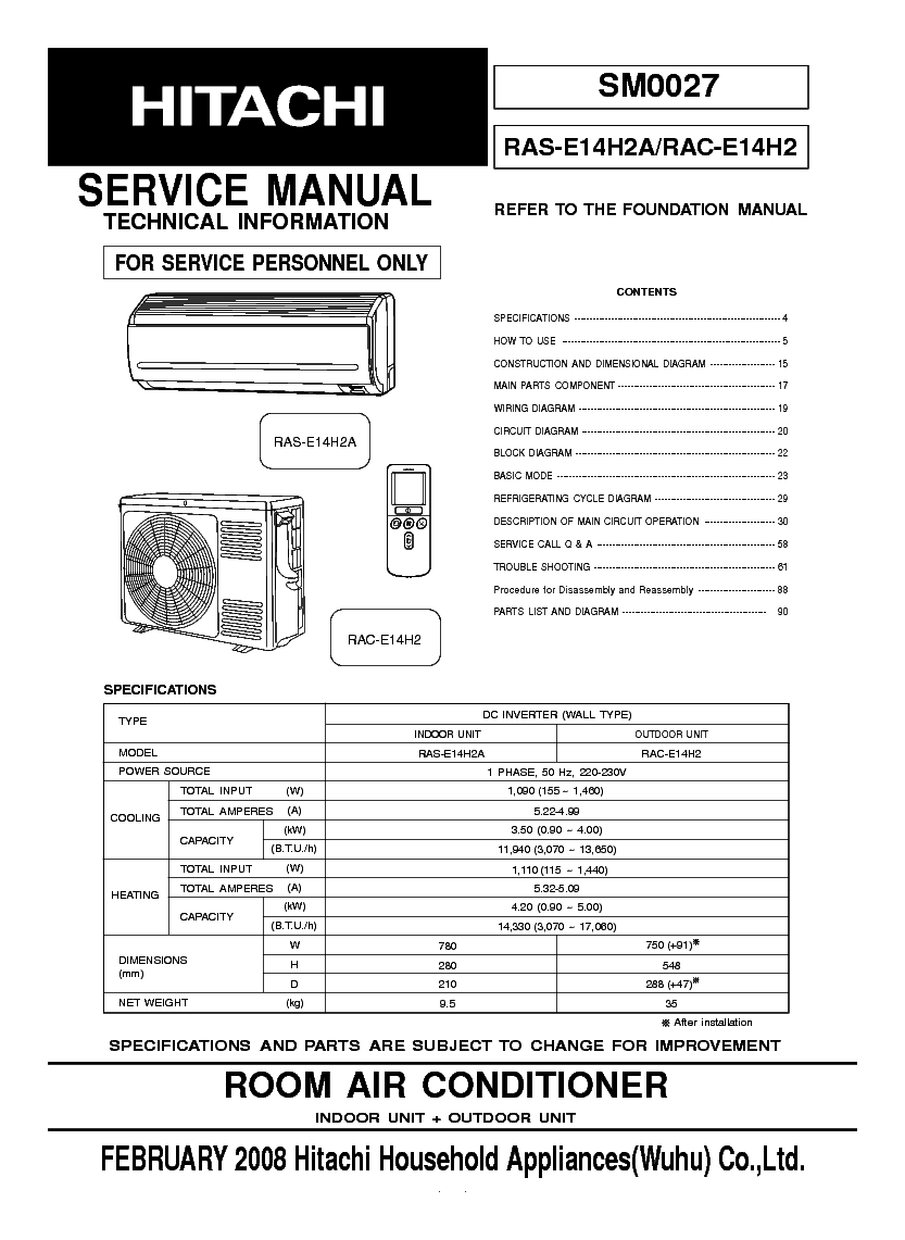 HITACHI RAC-E14H2 RAS-E14H2A Service Manual download