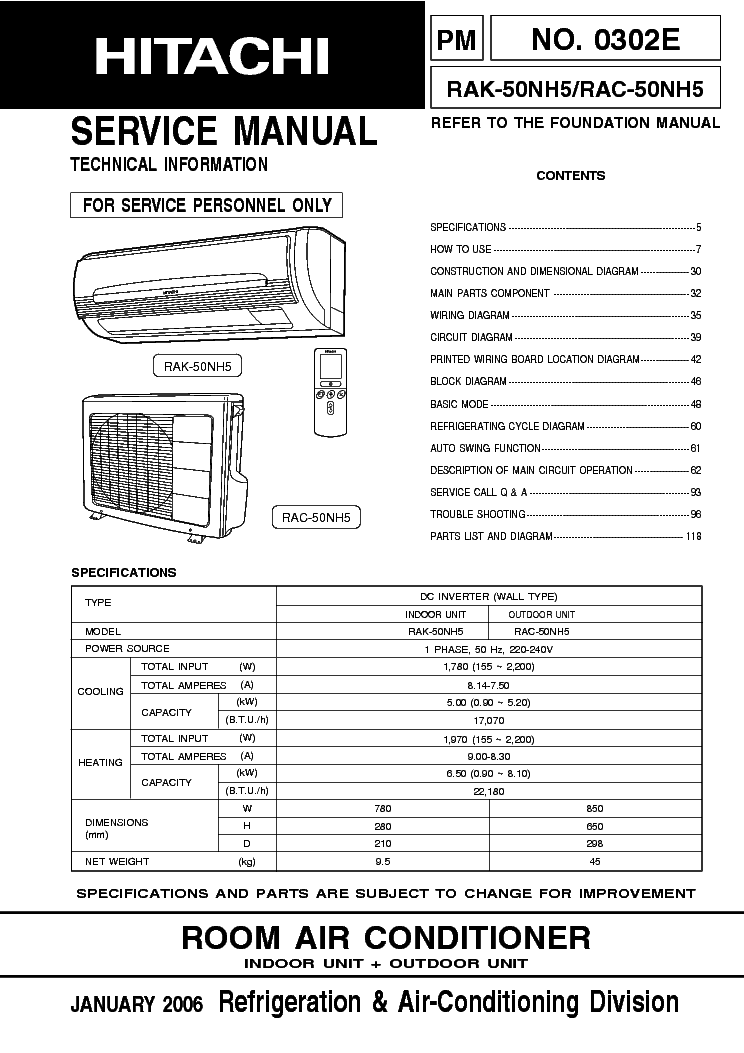 HITACHI RAC-18KH RAS-18KH Service Manual free download