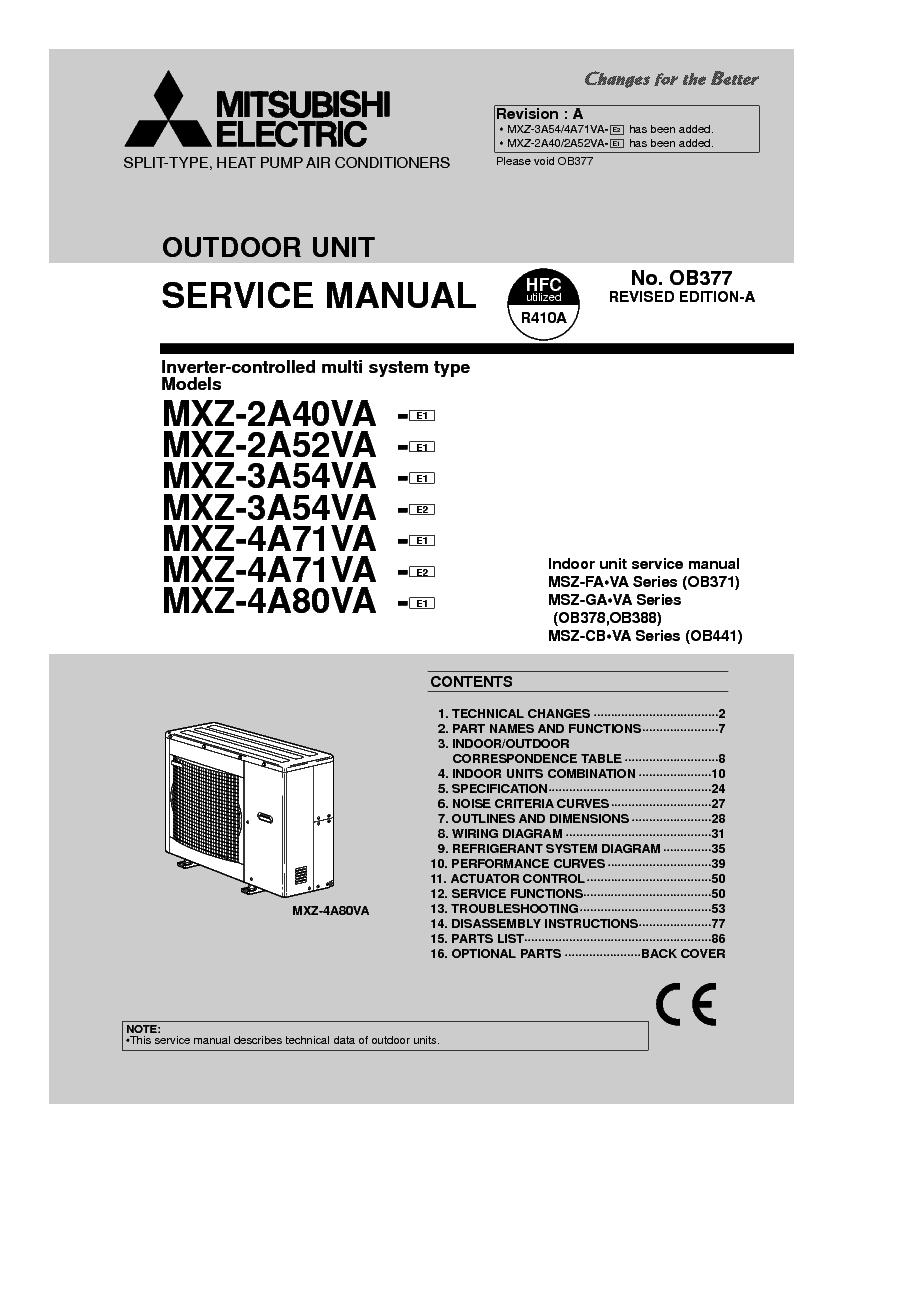 medium resolution of mitsubishi mxz 2a40va mxz 2a52va mxz 3a54va mxz 3a54va mxz 4a71va