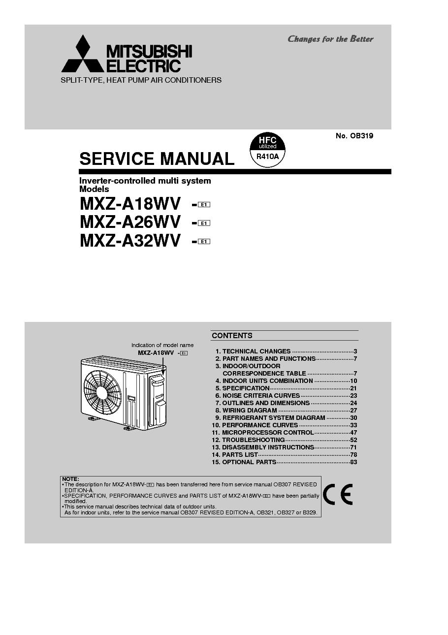 medium resolution of mitsubishi mxz a18wv mxz a26wv mxz a32wv service manual 1st page