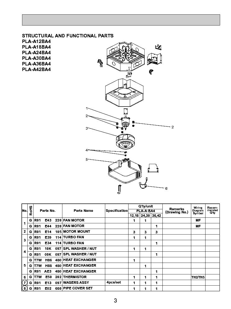 MITSUBISHI PLA-A12-A18-A24-A30-A36-A42BA4 PLP-40BAU PARTS
