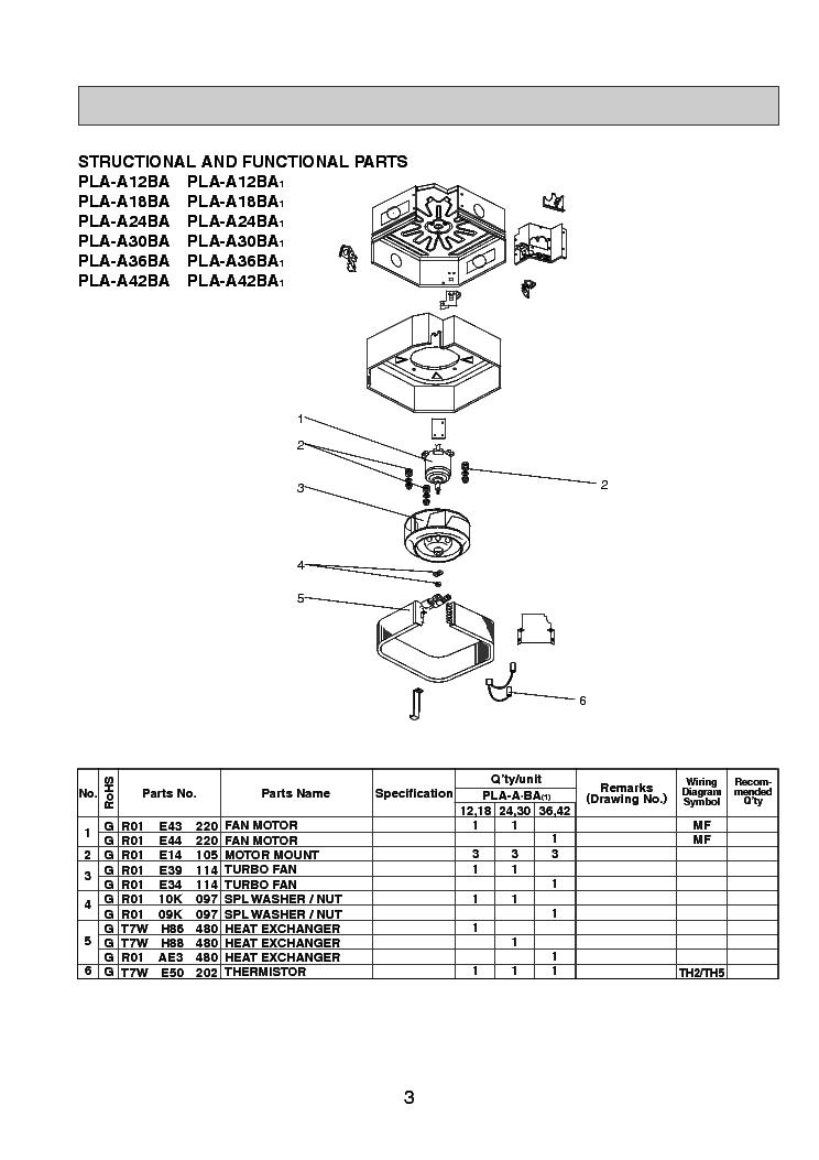 MITSUBISHI PLA-A12-A18-A24-A30-A36-A42BA PLP-42BAMD PARTS