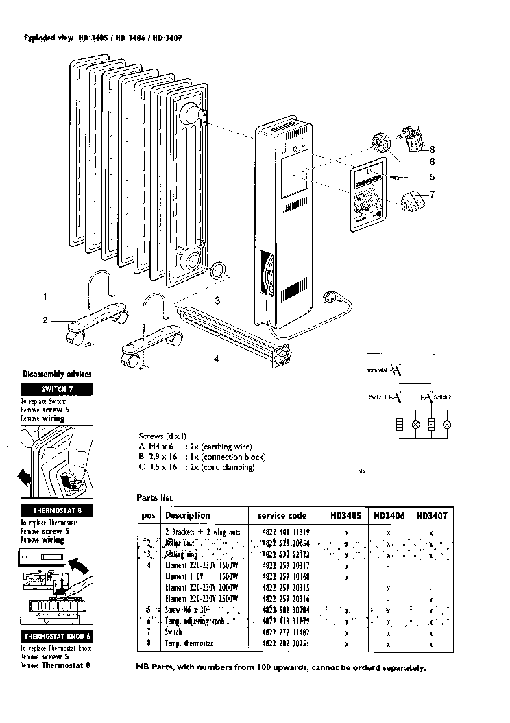 PHILIPS HD3405 Service Manual download, schematics, eeprom