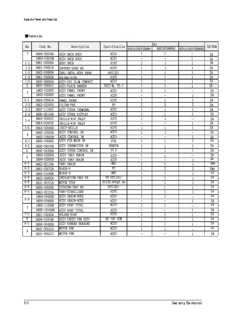 SAMSUNG AQV12PSBANXAX ASV1209PSBAN CHASSIS DB41-00971A