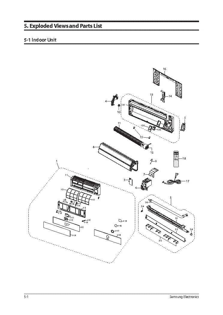 SAMSUNG AQV12VSCN EXPLODED VIEWS PARTS LIST Service Manual
