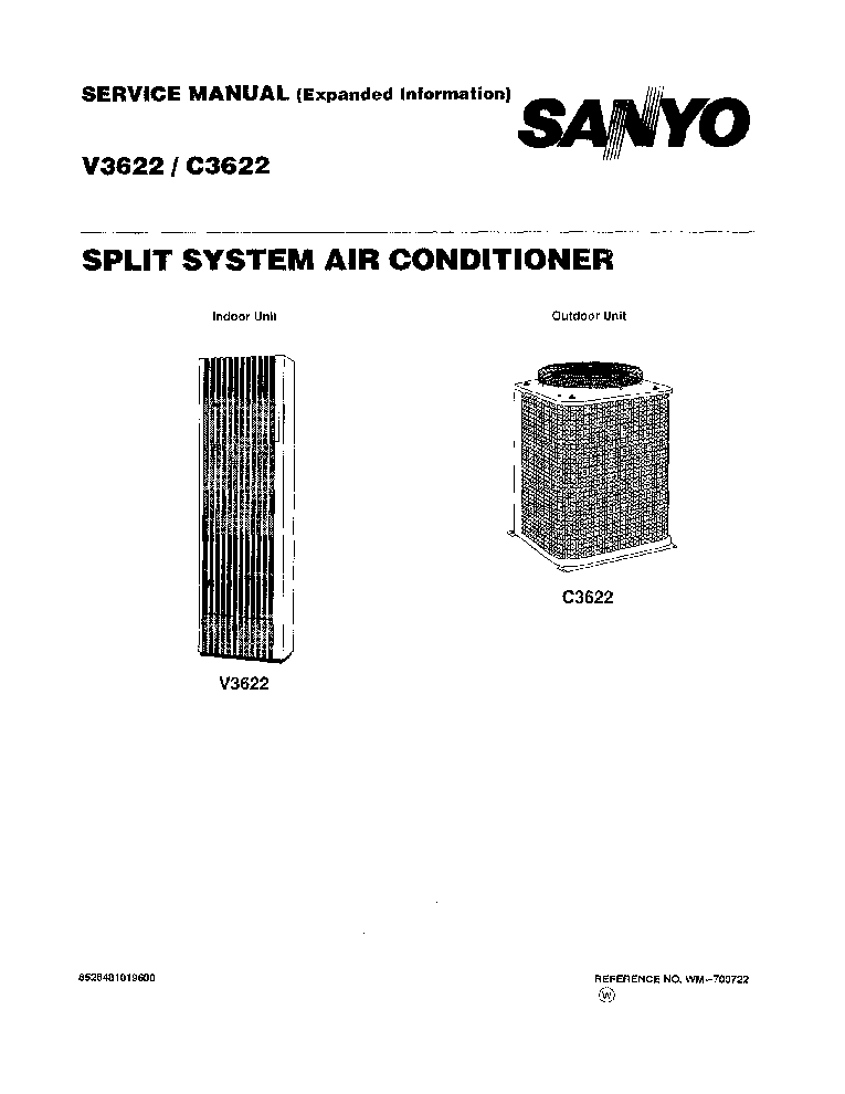 SANYO V3622 C3622 SPLIT SYSTEM AIR CONDITIONER SM Service