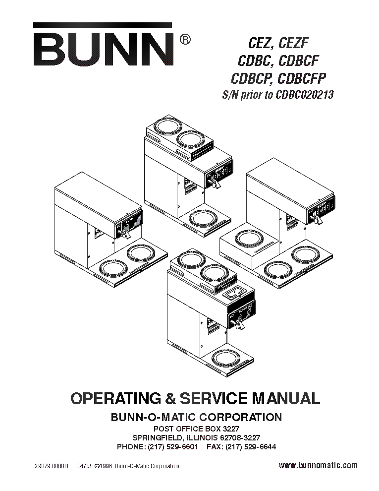 BUNN LPG-2E COFFEE GRINDER Service Manual download