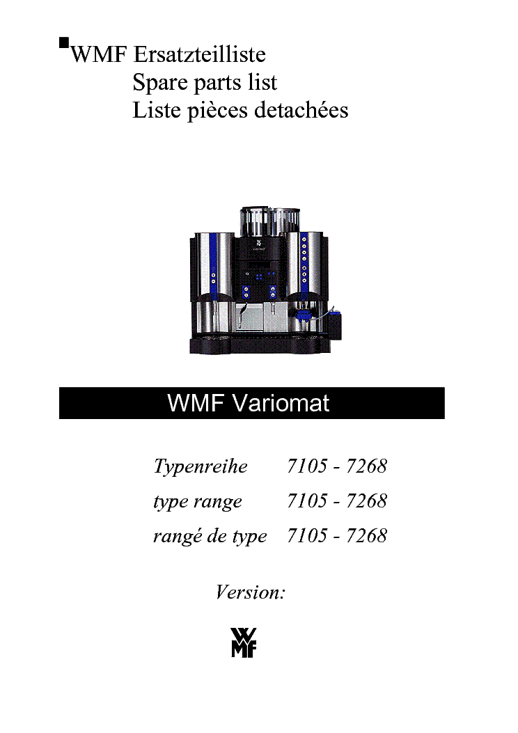 WMF VARIOMAT 7105-7268 PARTS LIST Service Manual download