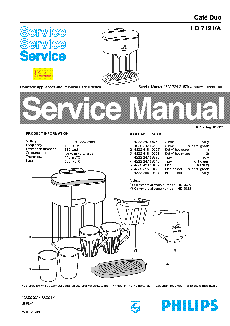 PHILIPS HD-7121-A CAFE-DUO SM Service Manual download