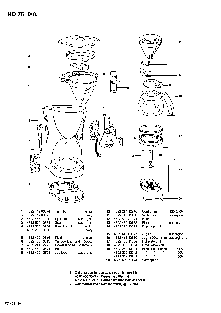 PHILIPS HD-7610-A CAFE-DELICE SM Service Manual download