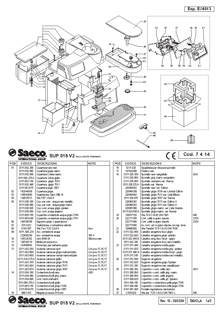 SAECO-VIENNA BLACK KAVEFOZOGEP Service Manual download