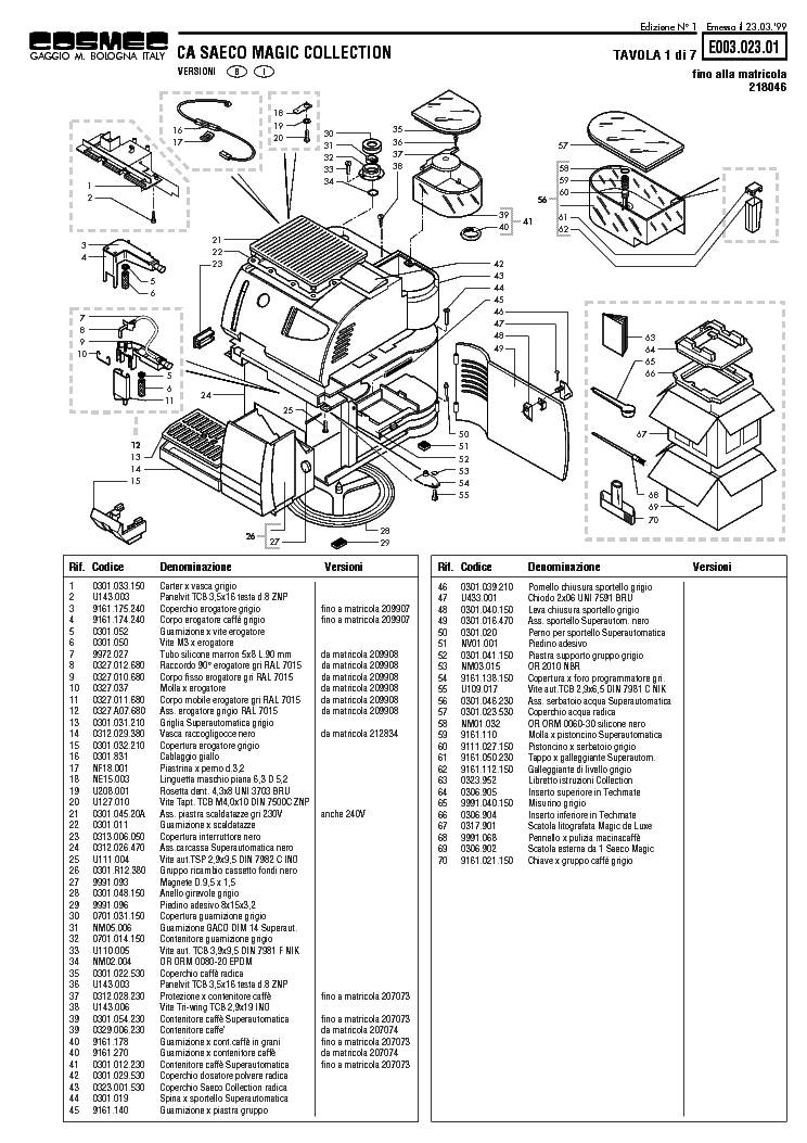 SAECO SUP 003 Service Manual free download, schematics