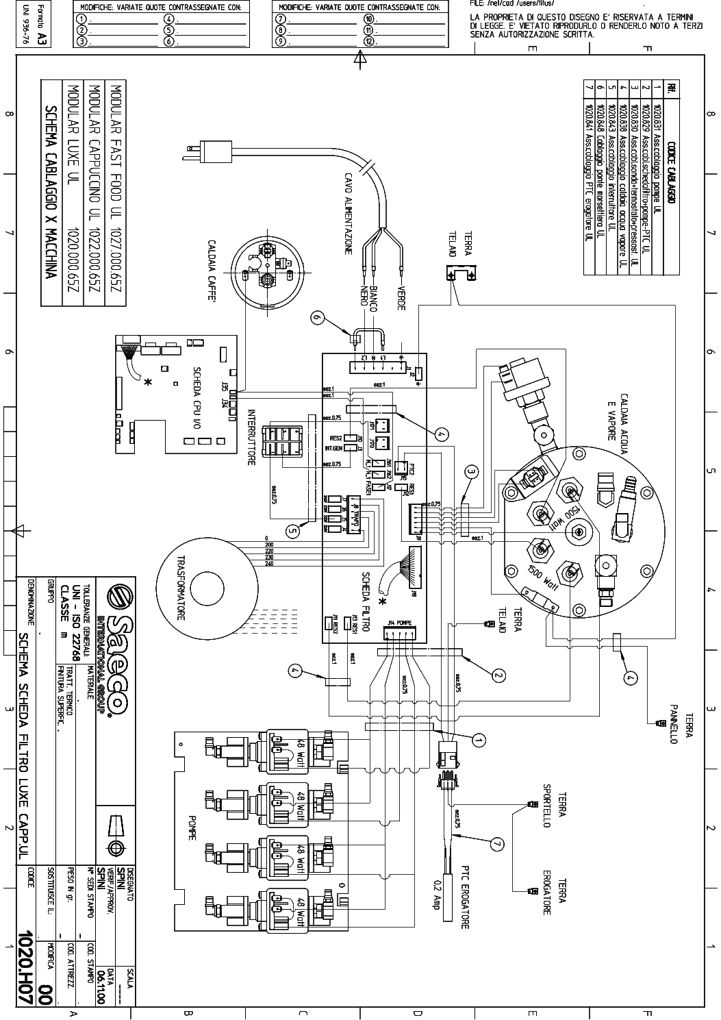 SAECO MODULAR WIRING CAPPUCCINO Service Manual download