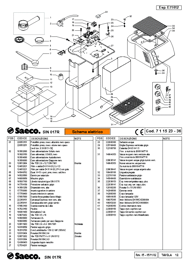 SAECO SIN-017R MAGIC-VAP-INSTANT Service Manual download
