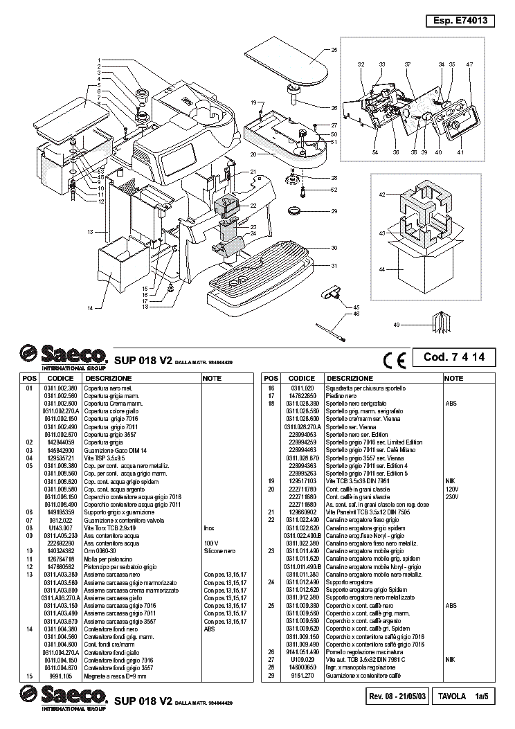 SAECO SUP-018-V2 Service Manual download, schematics