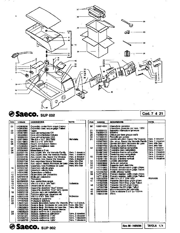 SAECO SUP 002 Service Manual download, schematics, eeprom