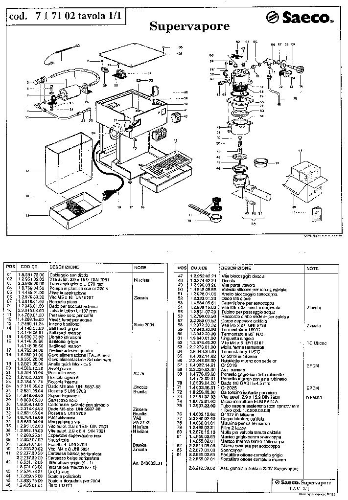 SAECO SUPERVAPORE Service Manual download, schematics