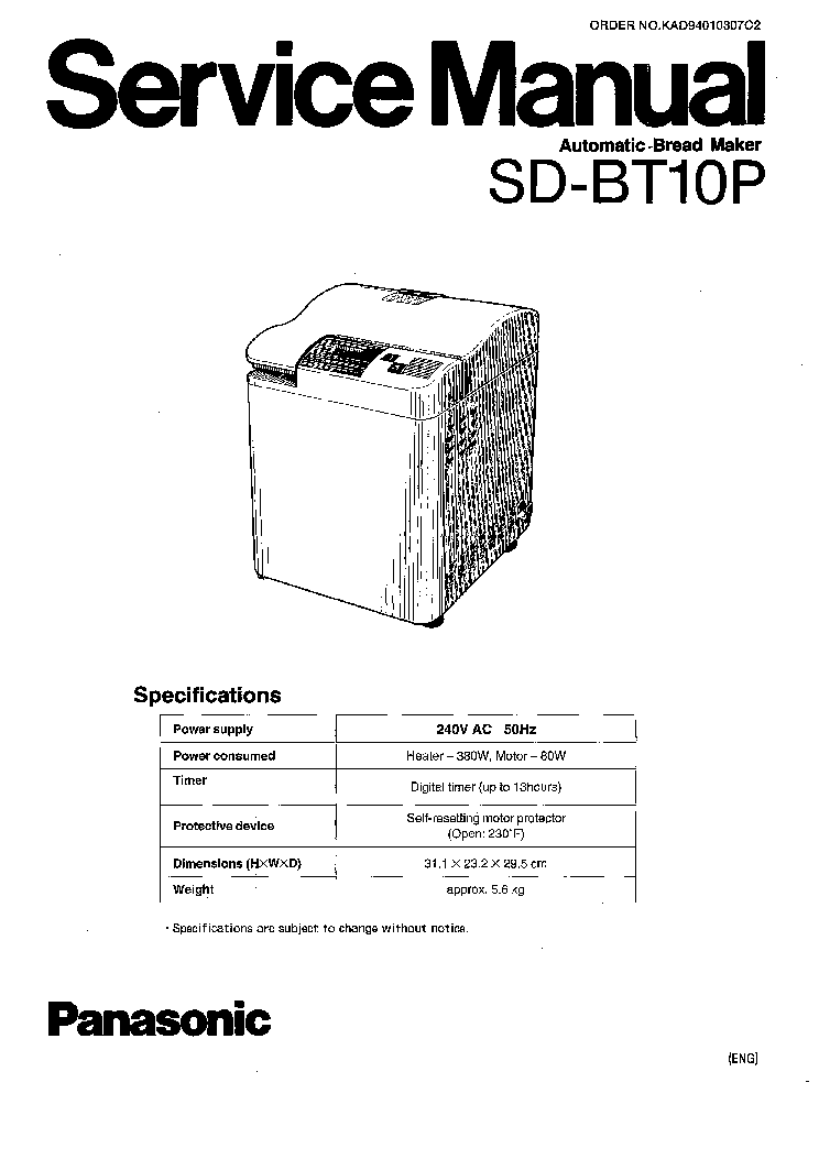PANASONIC SD BT10P Service Manual download, schematics