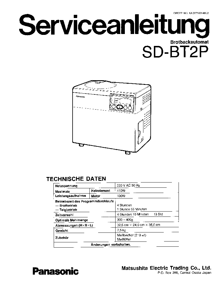 PANASONIC SD BT2P Service Manual download, schematics