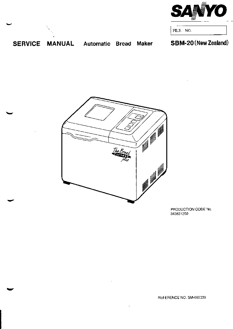 SANYO SBM-20 BREADMAKER Service Manual download
