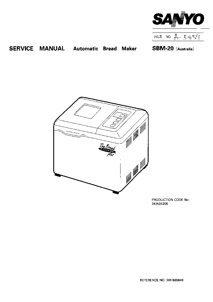 SANYO SAD-125I DEHUMIDIFIER Service Manual download