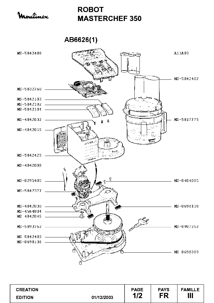 MOULINEX MASTERCHEF 350 AB6626 EXPLODED Service Manual