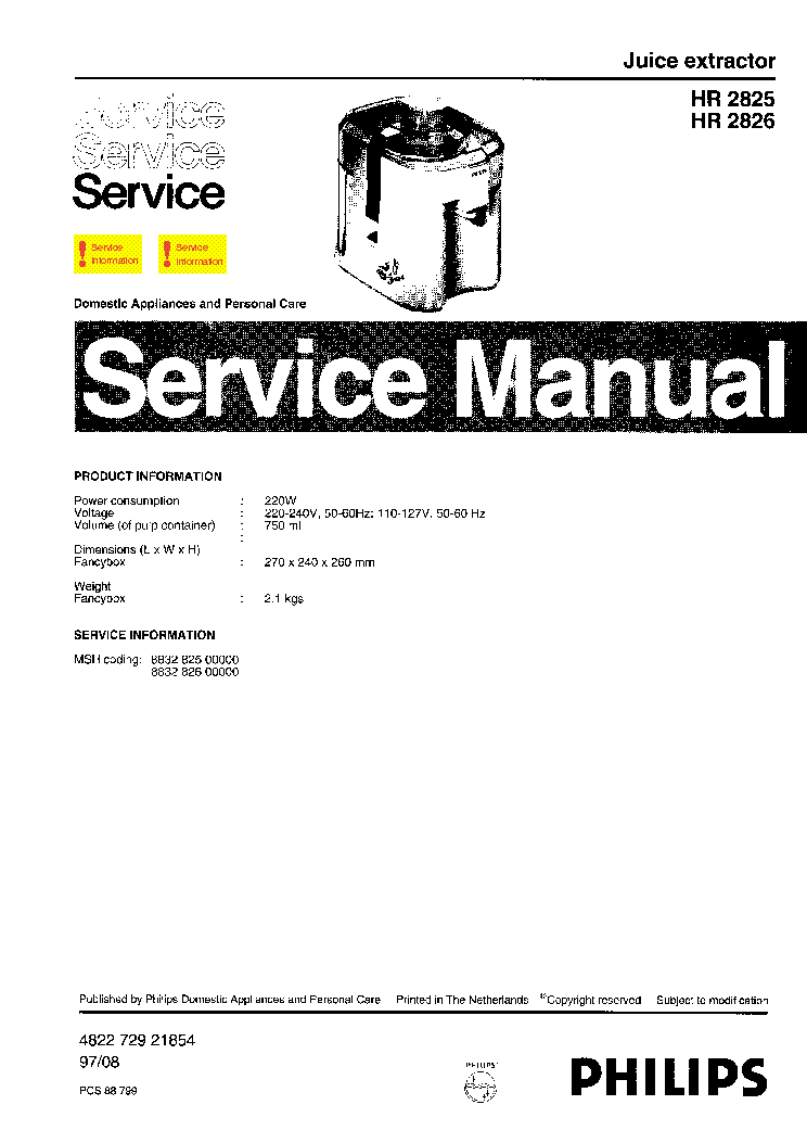 PHILIPS HR-2825 2826 JUICE-EXTRACTOR PARTS Service Manual