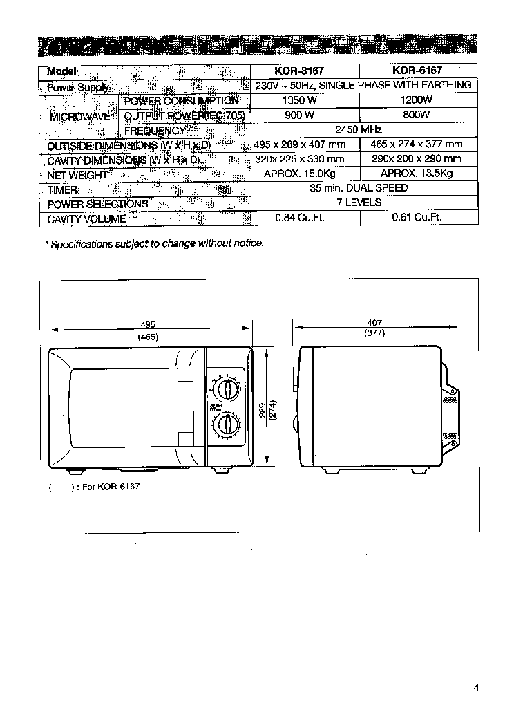 DAEWOO KOR 8167 Service Manual download, schematics