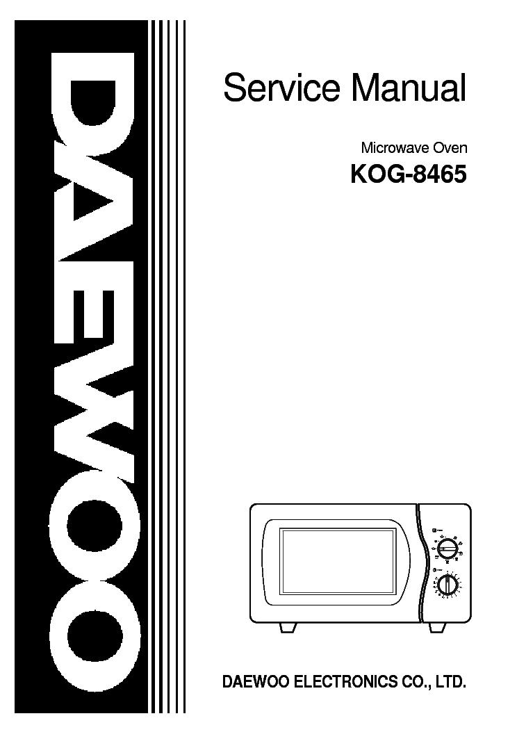 DAEWOO KOG-8465 Service Manual download, schematics