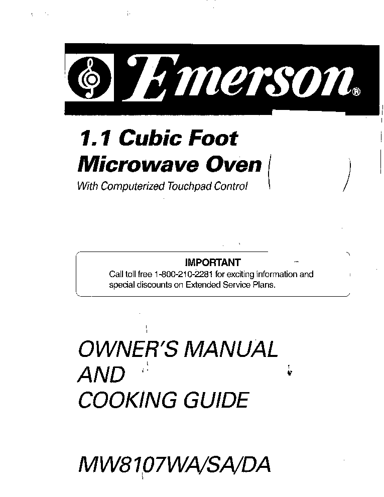 EMERSON MW8107WA Service Manual free download, schematics