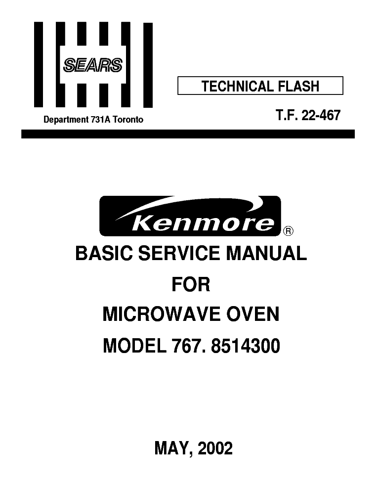 LG SEARS KENMORE 767 8514300 Service Manual free download
