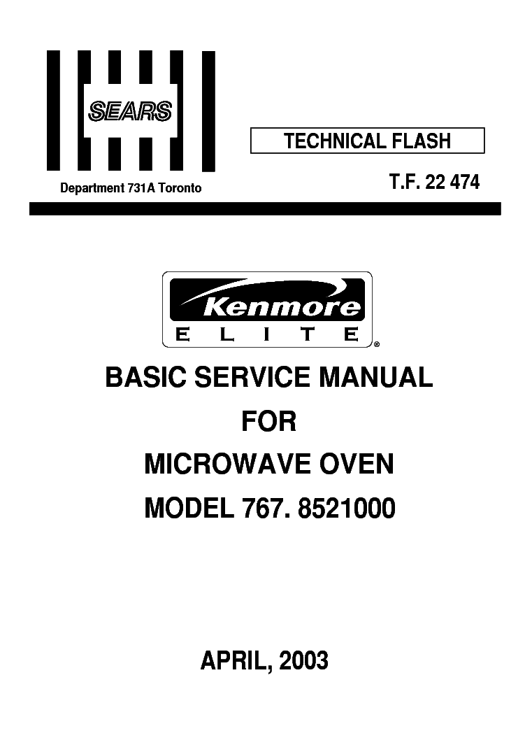 LG SEARS KENMORE 767 8521000 Service Manual download