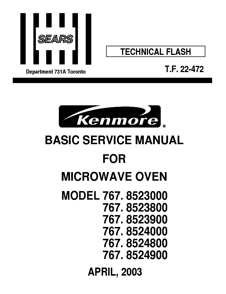 LG SEARS KENMORE 767 8523000-8523800-8523900-8524000
