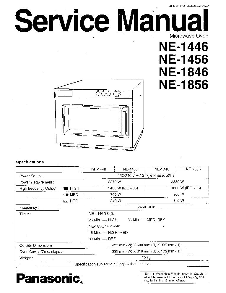 PANASONIC NE-1446 NE-1456 NE-1846 NE-1856 SM Service
