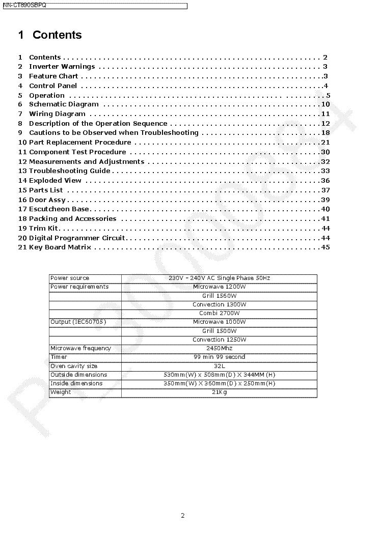 PANASONIC NN-CT890SBPQ Service Manual download, schematics