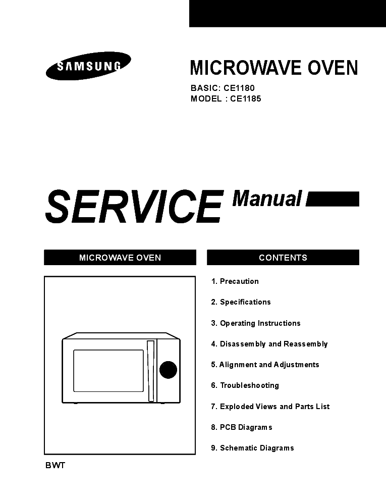 SAMSUNG CE1180GWT-XEF CE1185GBR-BWT Service Manual