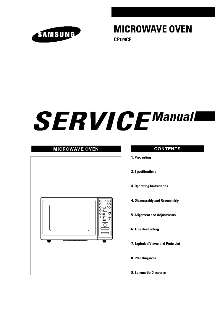 SAMSUNG CE124CF KUM Service Manual download, schematics