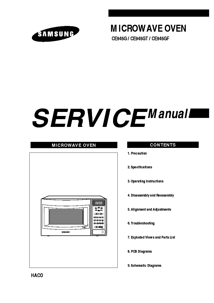 SAMSUNG CE945GF Service Manual download, schematics