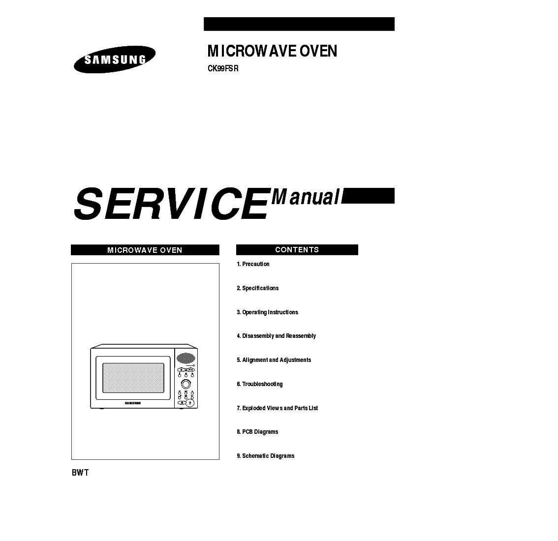 SAMSUNG CK99FSR BWT Service Manual download, schematics