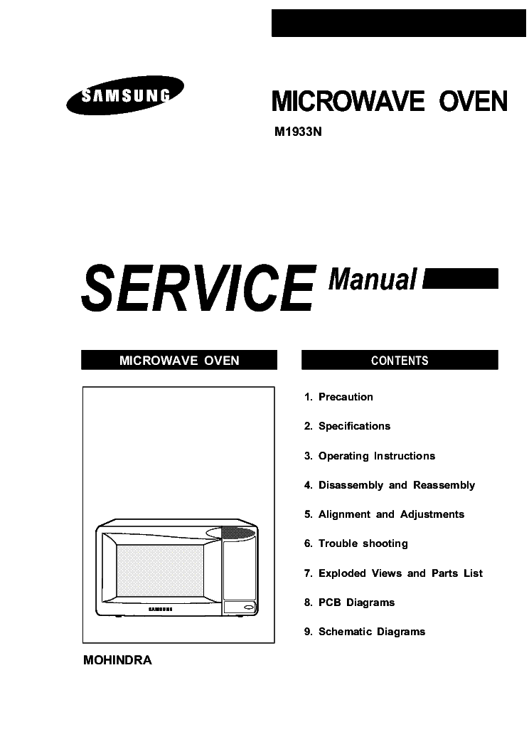 SAMSUNG M1933N MICROWAVE OVEN Service Manual download