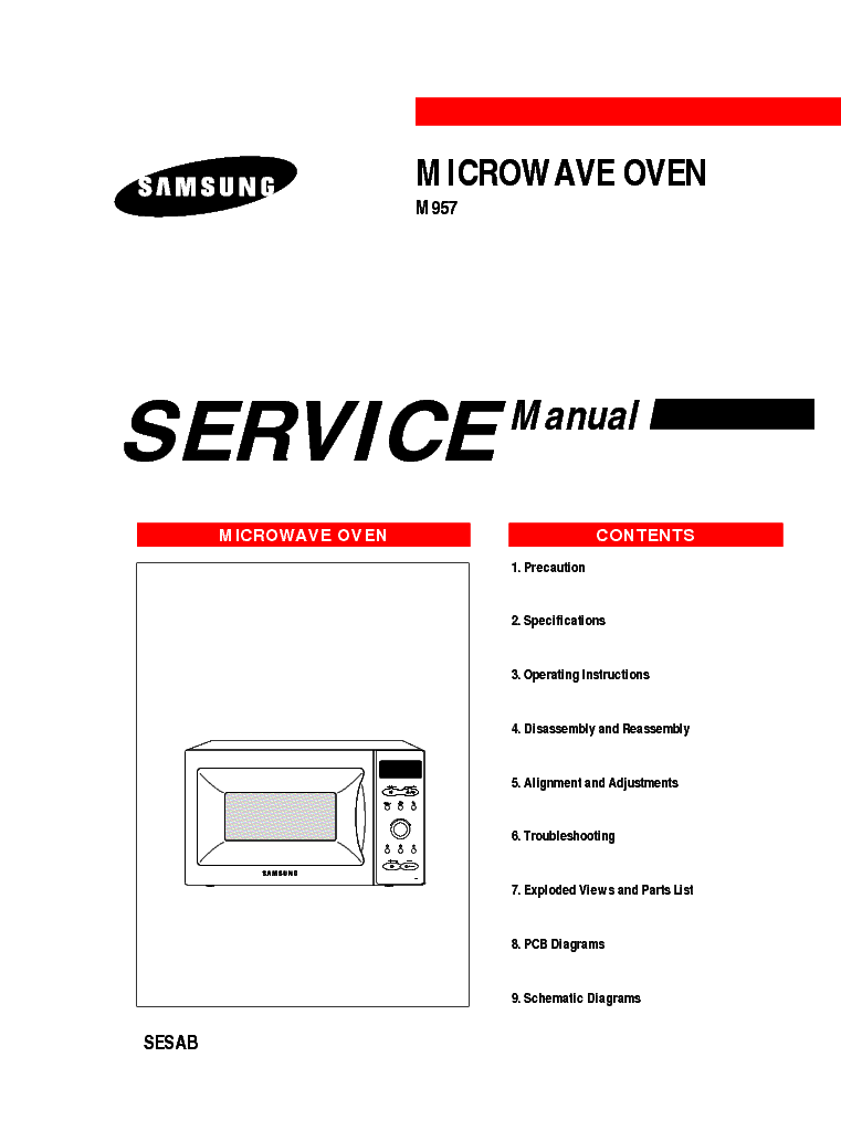 SAMSUNG M957 SESW Service Manual download, schematics