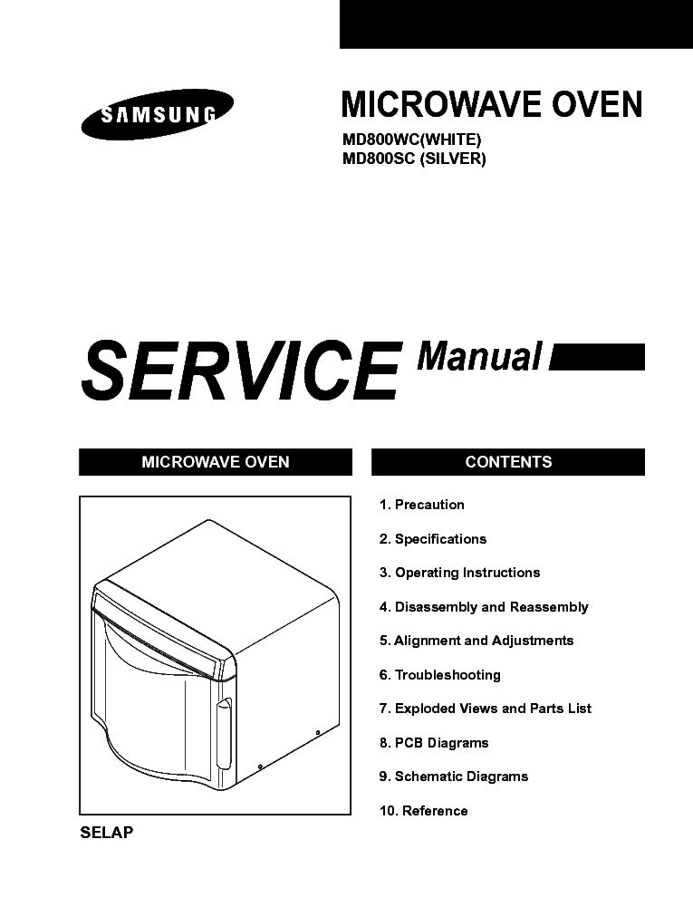 SAMSUNG MD800WC SC Service Manual free download