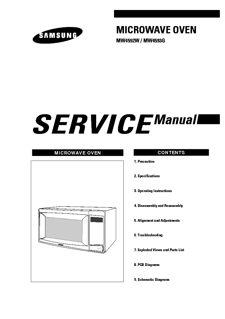 SAMSUNG MW4592W XAX Service Manual download, schematics