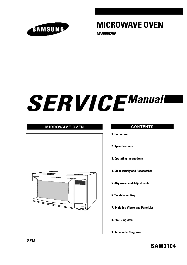 SAMSUNG MW5592W SM Service Manual download, schematics