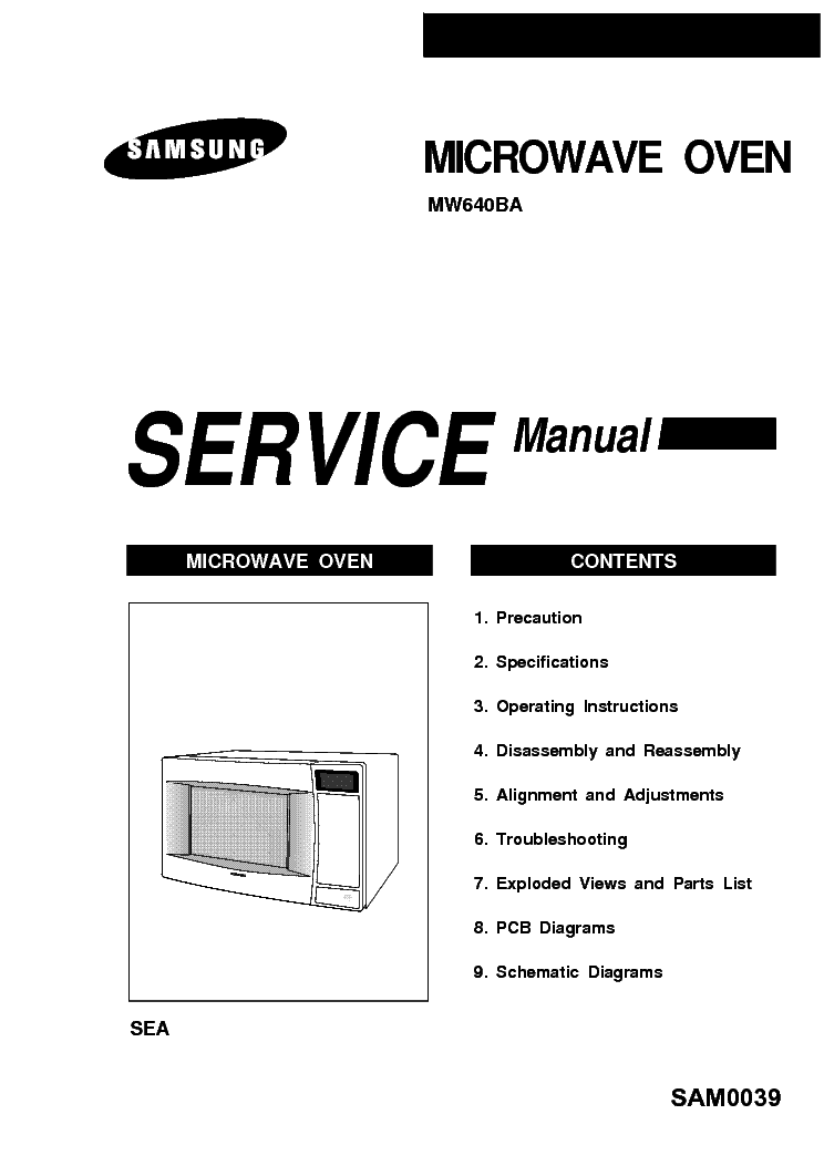 SAMSUNG MW640BA SM Service Manual download, schematics