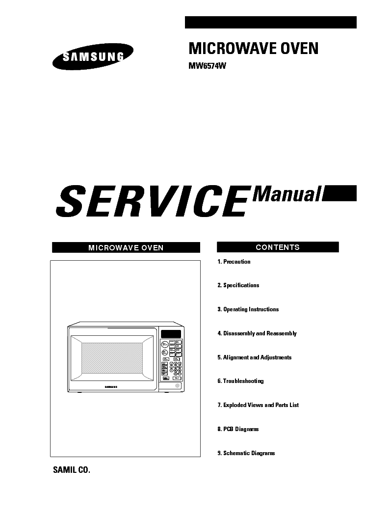 SAMSUNG MW6574W THT Service Manual download, schematics