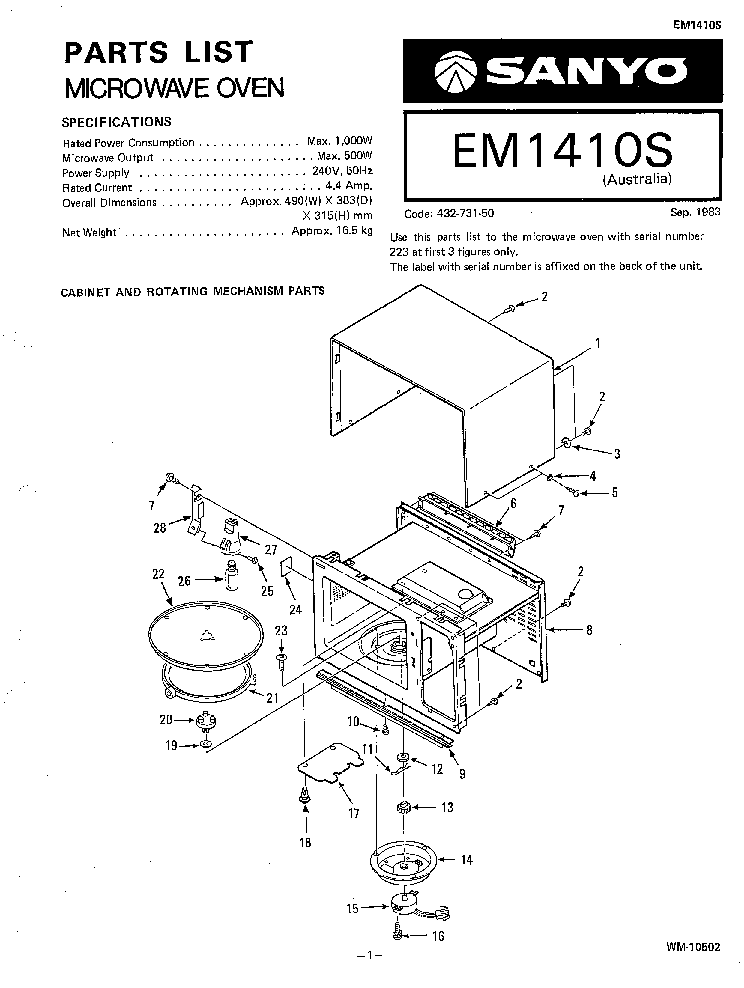SANYO EM-1410S SM Service Manual download, schematics