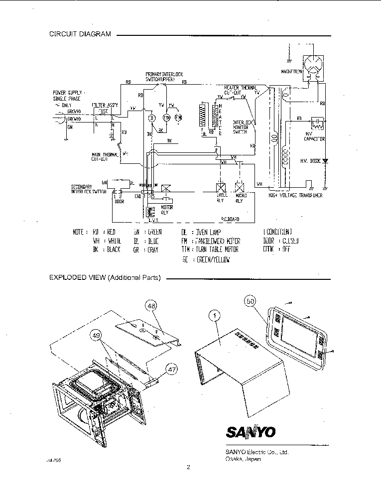 SANYO EM-G5595S SUPL Service Manual download, schematics