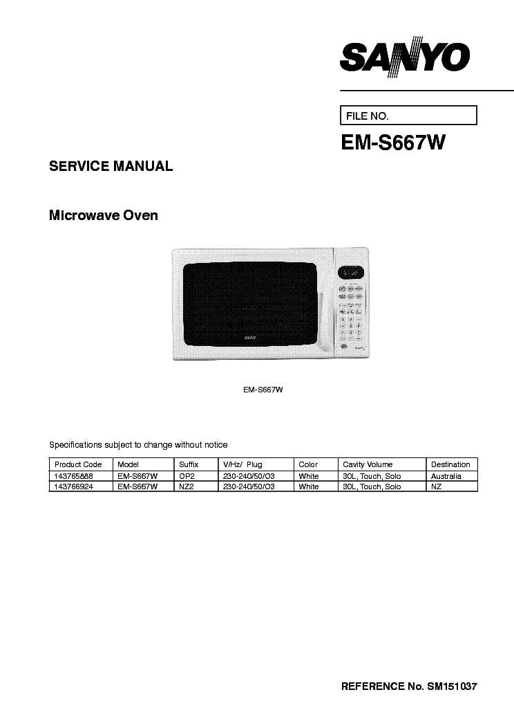 SANYO EM-S667W MICROWAVE OVEN SM Service Manual download